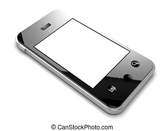 3d Smartphone with white screen