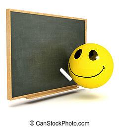 3d Smiley blackboard