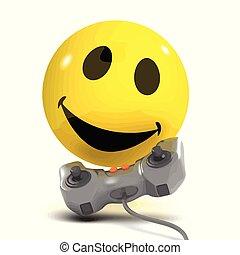 3d Smiley gamer