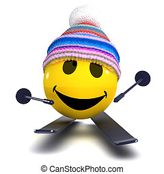 3d Smiley skier