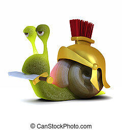 3d render of a snail dressed as a Roman soldier