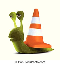 3d Snail roadworks - 3d render of a snail wearing a traffic...
