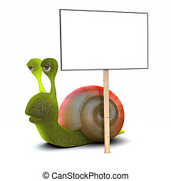 3d render of a snail with a placard