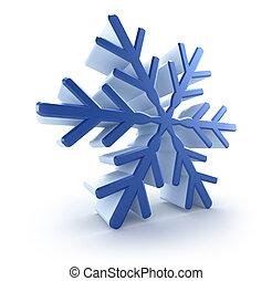 3d, sneeuwvlok, op, witte