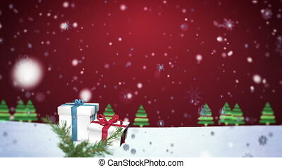 3D Snowflakes Falling on Christmas background 3 - Christmas...