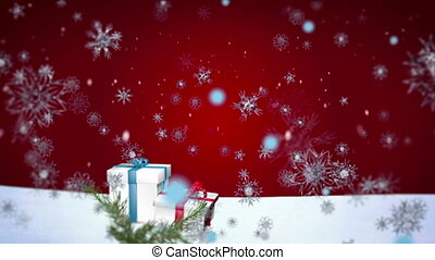3D Snowflakes Falling on Christmas background 2 - Christmas...