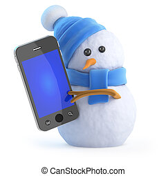 3d Snowman chats on his smartphone