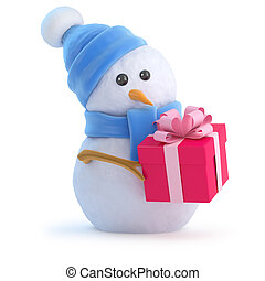 3d Snowman has a Christmas gift - 3d render of a snowman in...