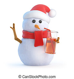 3d Snowman has a drink at the party - 3d render of a snowman...
