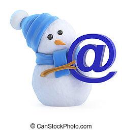 3d Snowman has an email address