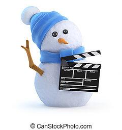 3d Snowman holding a clapperboard - 3d render of a snowman ...