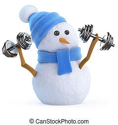 3d Snowman lifting weights - 3d render of a snowman lifting...
