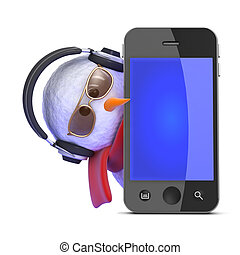 3d Snowman listens to his smartphone