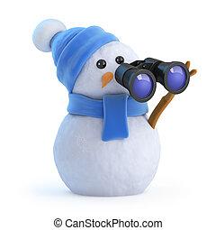 3d Snowman looking through binoculars