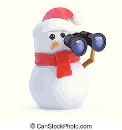 3d Snowman looks through binoculars