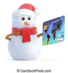 3d Snowman pays his bill - 3d render of a snowman with a...