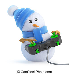 3d Snowman plays a video game - 3d render of a snowman in a...