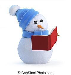 3d Snowman reading a book - 3d render of a snowman reading a...
