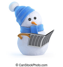 3d Snowman reads the newspaper