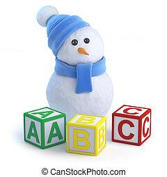 3d Snowman teaches the alphabet