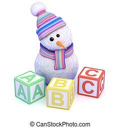 3d Snowman teaches you how to read