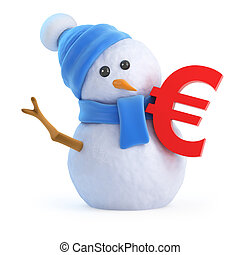 3d Snowman with a Euro currency symbol
