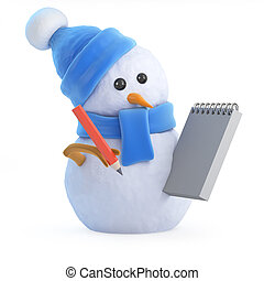 3d Snowman with a notepad and pencil