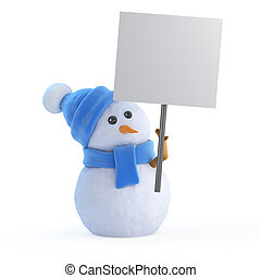 3d Snowman with a placard - 3d render of a snowman holding a...