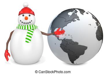 3d snowman with earth globe