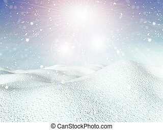 3D snowy background - 3D winter background with snowfall and...