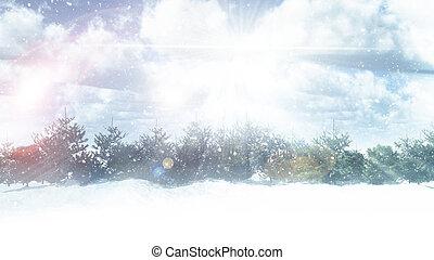3D snowy fir tree landscape