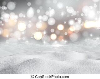 3D snowy scene - 3D render of snow against a bokeh lights ...