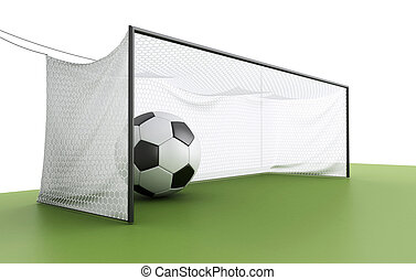 3d soccer ball in a net