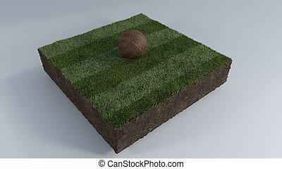 3D Soccer ball of grass patch
