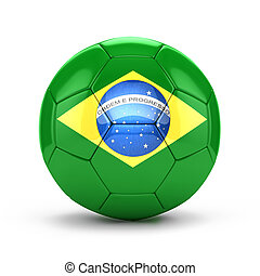 3d soccer ball with brazil flag