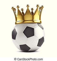 3d Soccer ball with gold crown