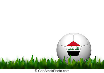 3D Soccer balll Iraq Flag Patter on green grass over white background