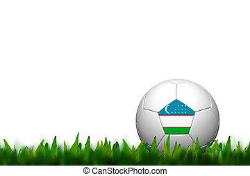 3D Soccer balll Uzbekistan Flag Patter on green grass over white background