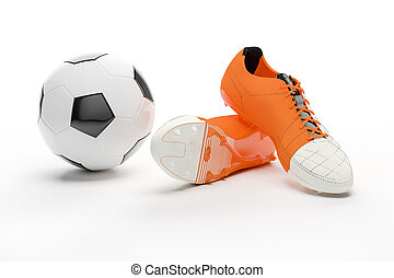 3d soccer boots and ball on white background