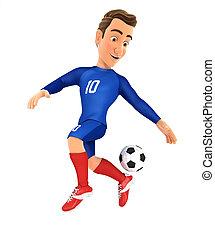 3d soccer player blue jersey backheel control