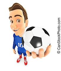 3d soccer player blue jersey holding ball