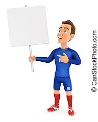 3d soccer player blue jersey holding blank sign board