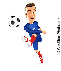 3d soccer player blue jersey powerful shooting