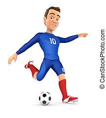 3d soccer player blue jersey shooting ball