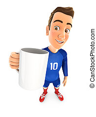 3d soccer player blue jersey standing with cup