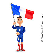 3d soccer player blue jersey standing with flag of france