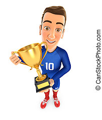 3d soccer player blue jersey standing with gold trophy cup