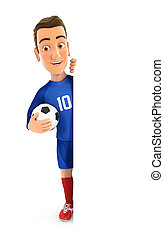 3d soccer player blue jersey with ball behind blank wall