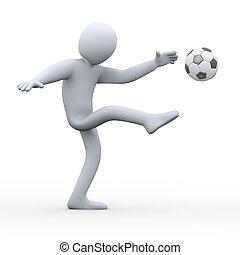 3d soccer player shooting ball - 3d illustration of man...
