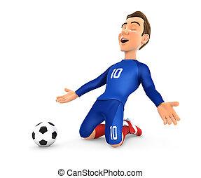 3d soccer player with blue jersey goal celebration